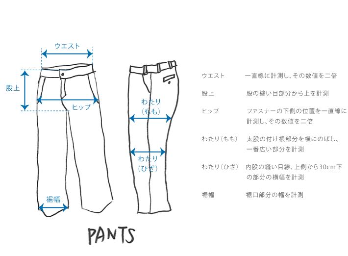 パンツのサイズガイド