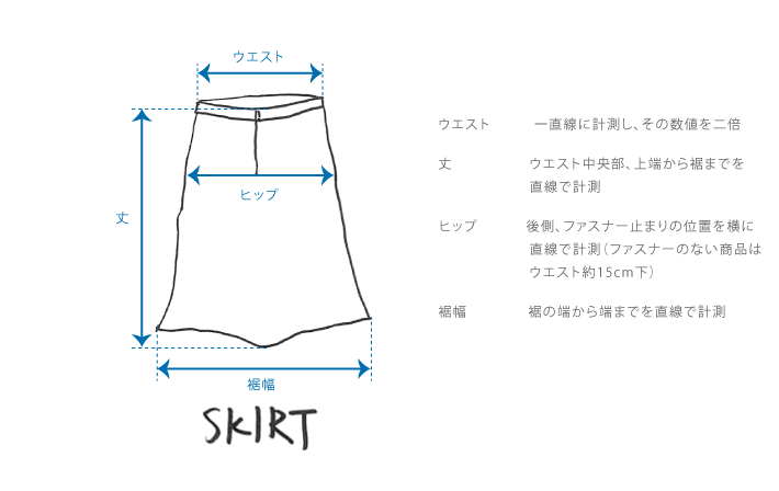 スカートのサイズガイド
